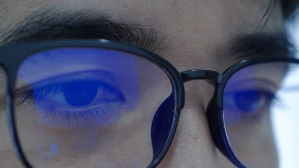 4K Eyes of Surprised Asian guy in glasses