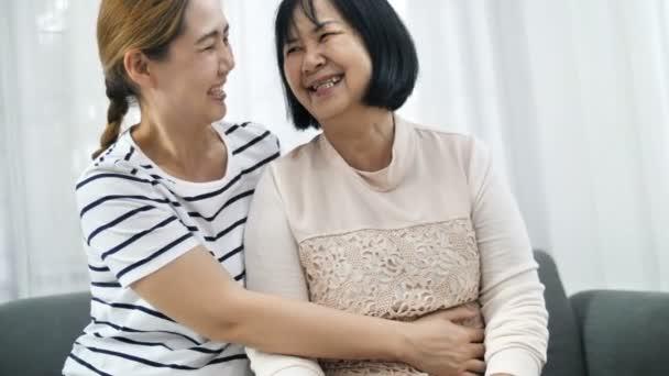 4K Happy Asian woman hugging senior woman, Multi generation of Asian female, 60 fps