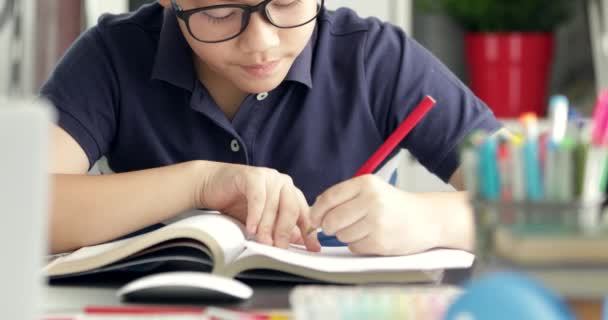 Asian boy waring eyeglass and  doing your homework at home.