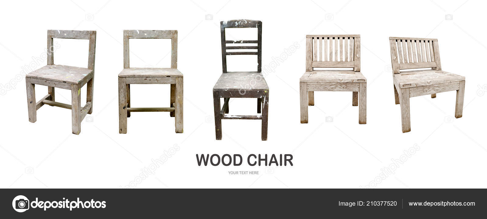 Old Dirty Wood Chair Isolate White Background — Stock Photo ...