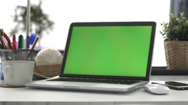 Laptop, Home Office, Dolly Shot. Chroma Key Laptop.