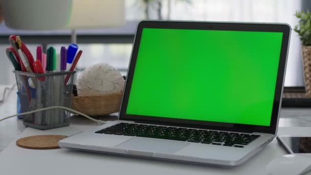 Woman working on the laptop computer with green screen at home. Chroma key. View from the back.