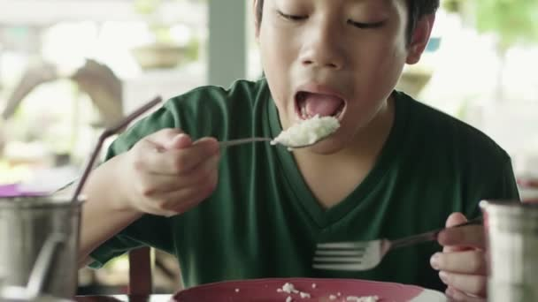 Young asian boy eating fried rice with meat for breakfast.
