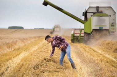 Handsome farmer with tablet standing in front of combine harvester during harvest in field