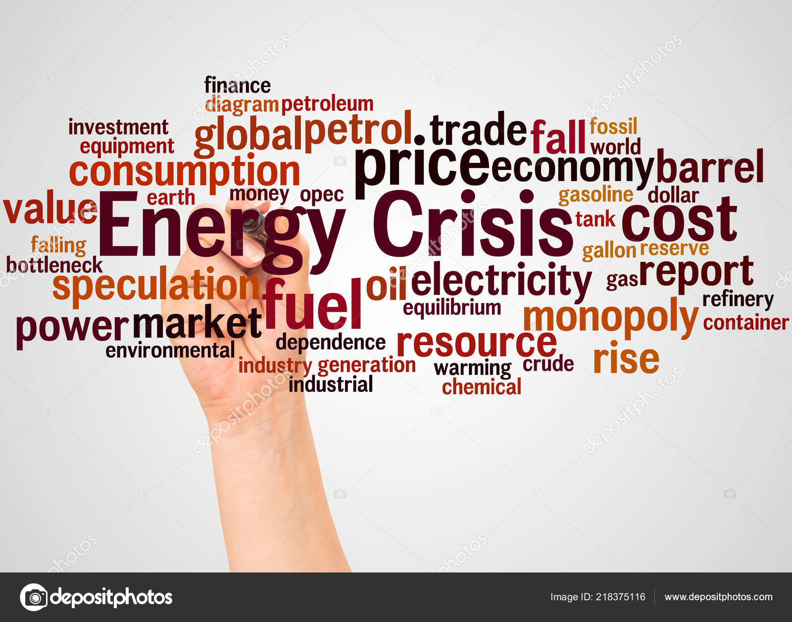 Energy Crisis Word Cloud Hand Marker Concept White