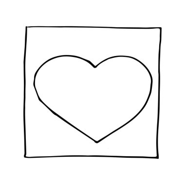 Frame with sketch heart hand drawn doodle. space for text, icon, vector, monochrome, minimalism. icon