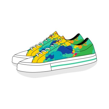 Colorful of classic canvas shoes vector illustration. good template for t shirt design or youth design.