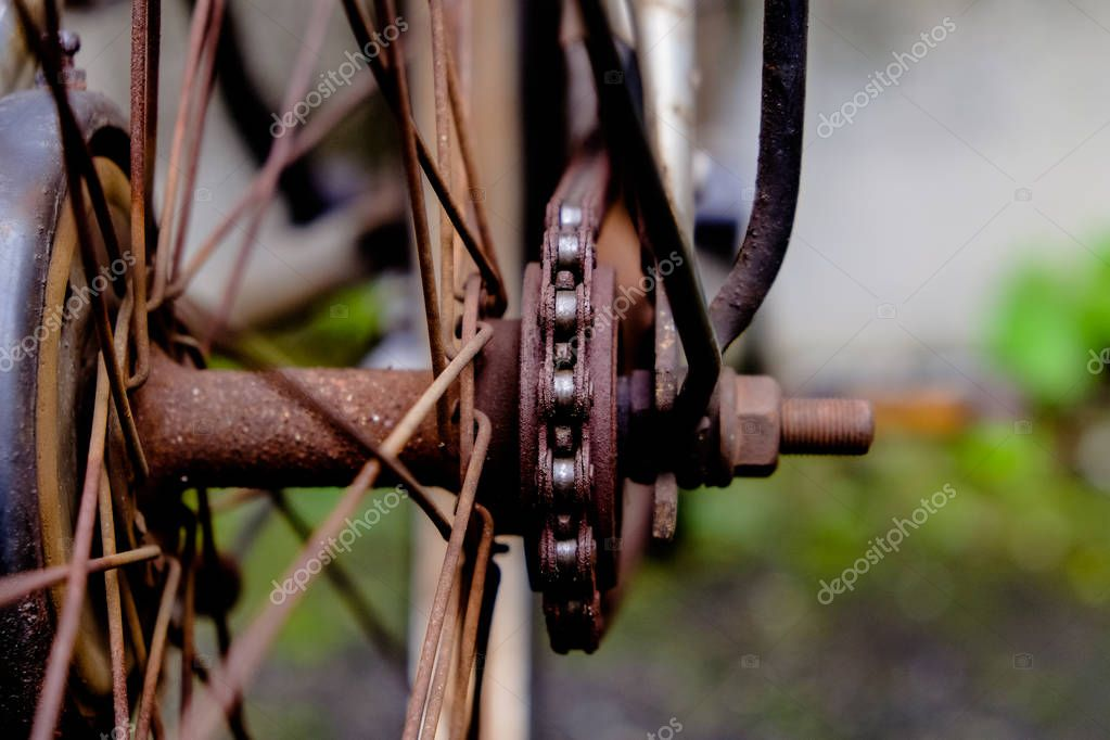 Rusty gears of bicycle.