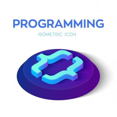 Programming code. 3D Isometric programming code sign. Created For Mobile, Web, Decor, Print Products, Application. Perfect for web design, banner and presentation. Vector Illustration.