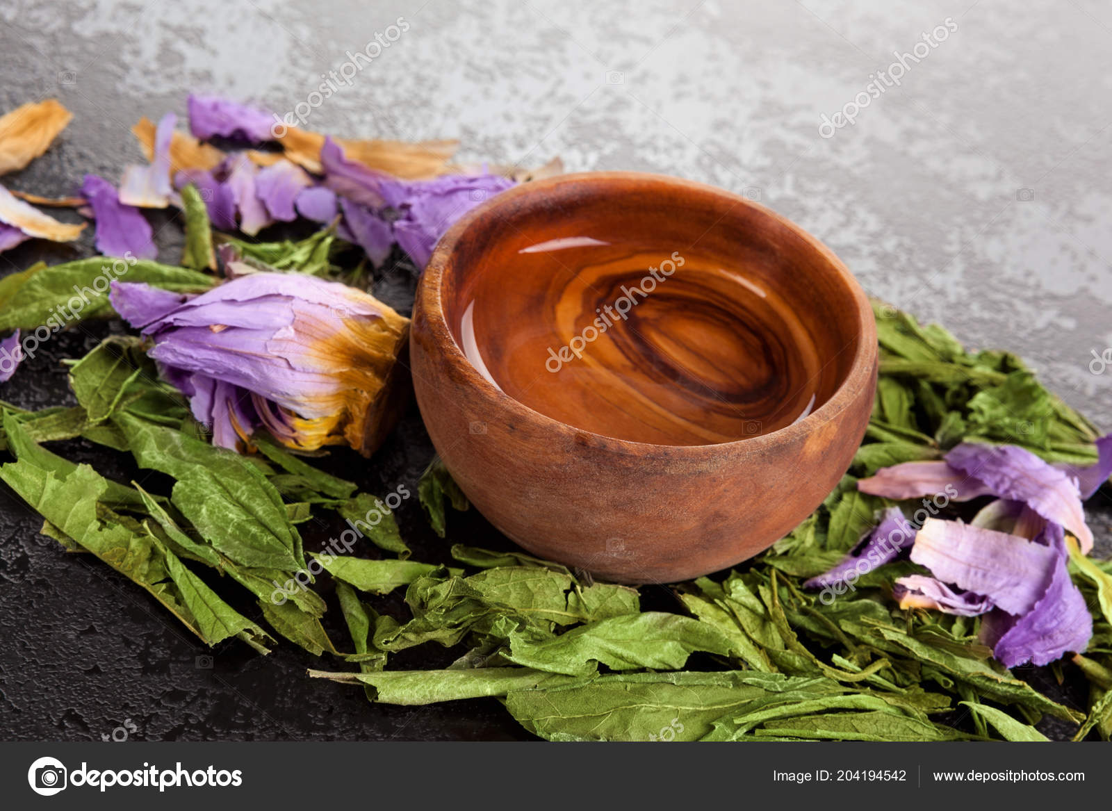 Dried Blue Lotus Flower Dream Herbs Oil Extract Wooden Bowl Stock