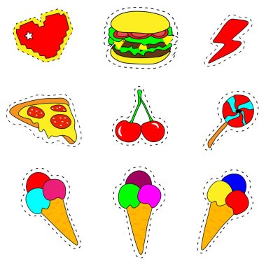 Pop art set with fashion patch badges and different fast food elements. Stickers,pins,patches,quirky, handwritten