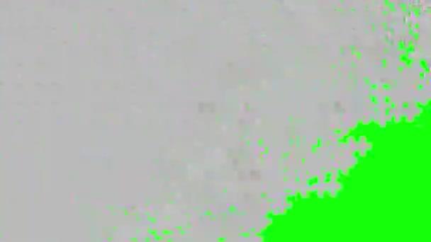 Sedm in/out skládanky v přechodech na ploché 255 zelené barevné obrazovce.