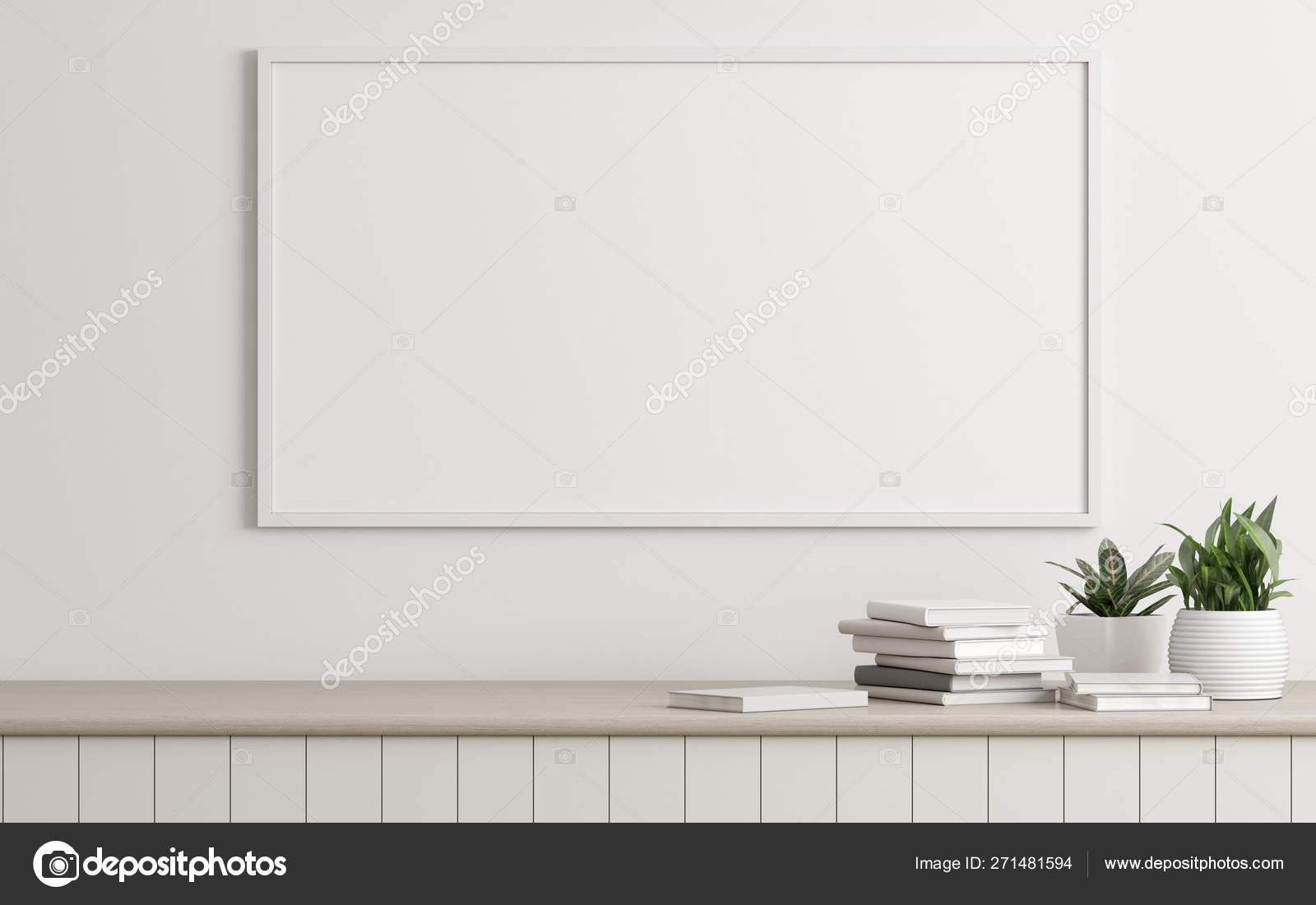 Mock Picture Frame Small Plant Vase Books White Wall Perspective Stock Photo C Nuchao 271481594