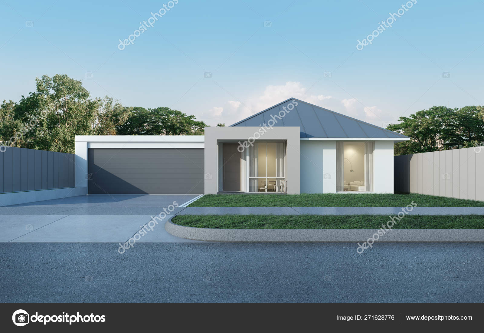 View Modern House Australian Style Blue Sky Background Contemporary Residence Stock Photo C Nuchao 271628776