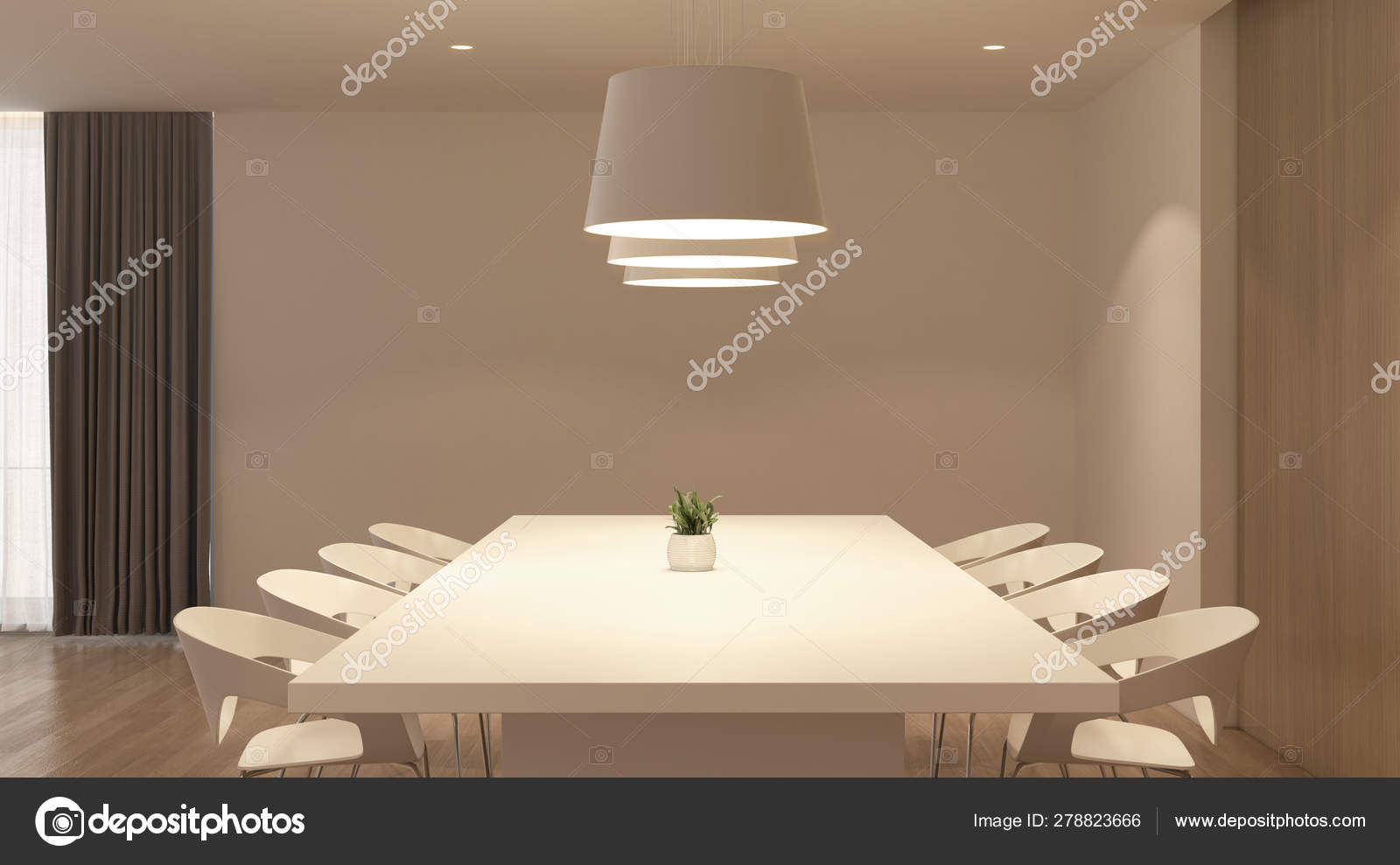 Picture of: Perspective White Modern Luxury Room Kitchen Dining Table Set Idea Stock Photo C Nuchao 278823666