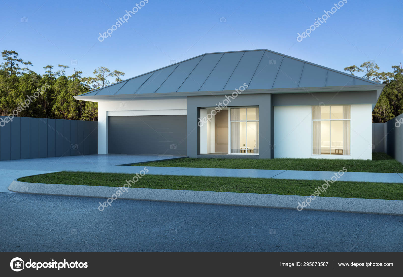 View Modern House Australian Style Pine Forest Blue Sky Background Stock Photo C Nuchao 295673587