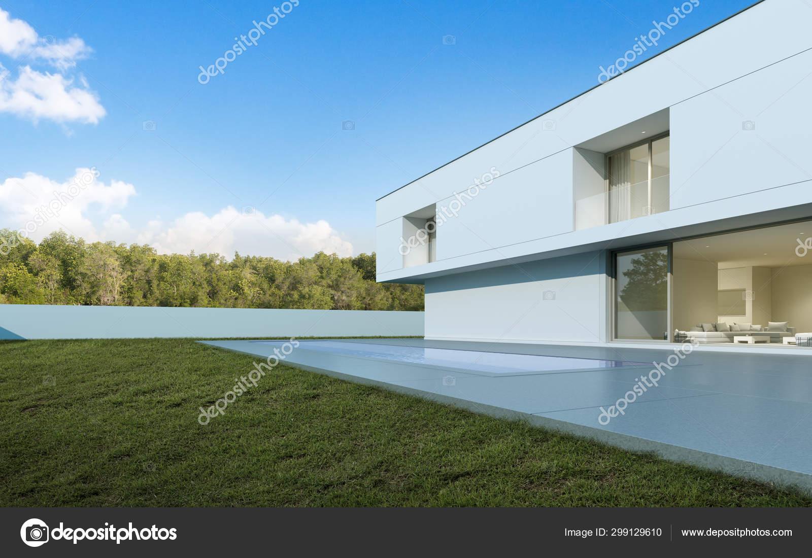 Perspective Maison Moderne Blanche Luxe Avec Piscine Cour ...