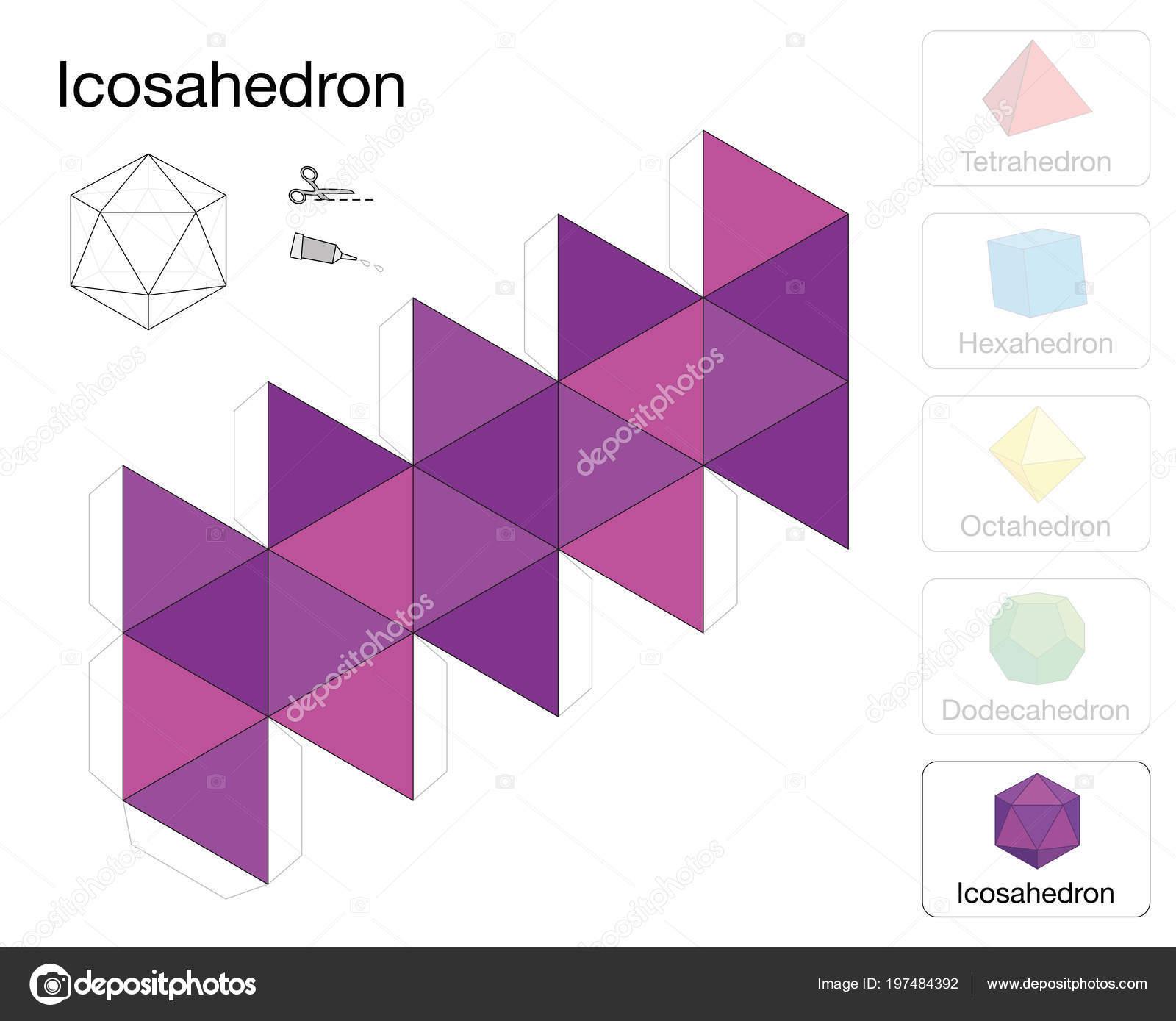 Icosahedron Platonic Solid Template Paper Model Icosahedron One Five