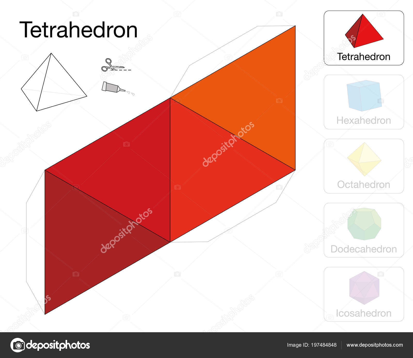 Tetrahedron Platonic Solid Template Paper Model Tetrahedron One Five ...