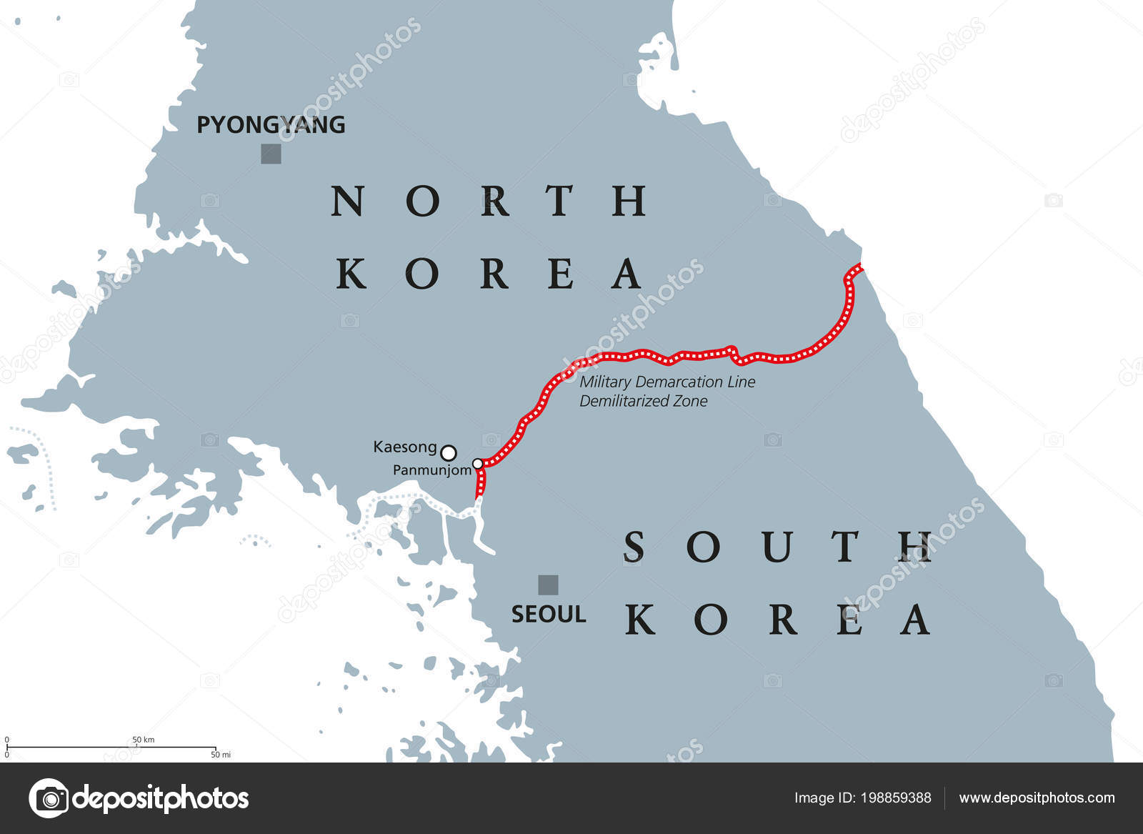 Korean Peninsula Demilitarized Zone Area Political Map North South