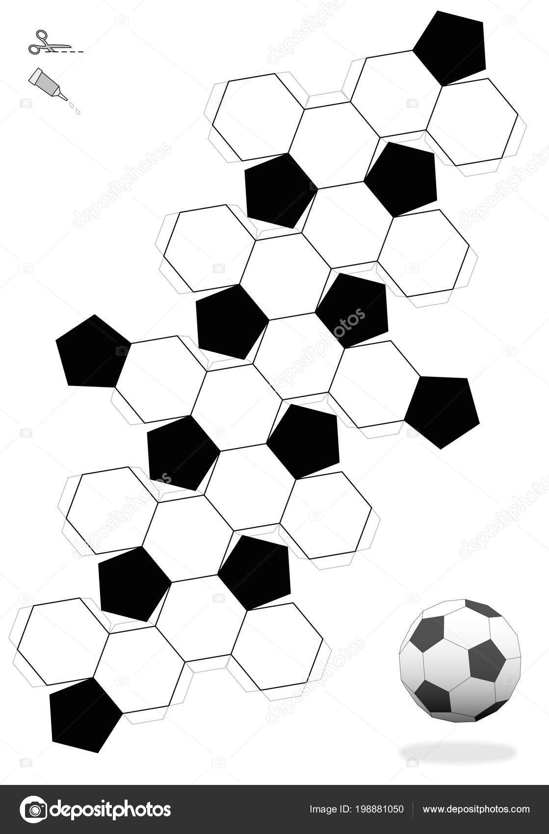 image about Soccer Ball Template Printable called Football ball printable Truncated Icosahedron Football Ball