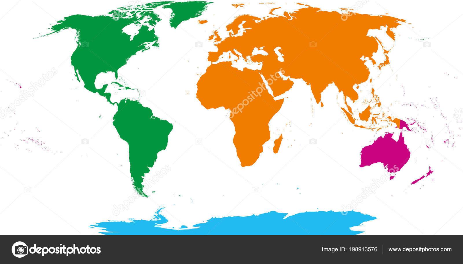 Karte Australien Englisch.Karte Von Vier Kontinenten Amerika Afrika Und Eurasien