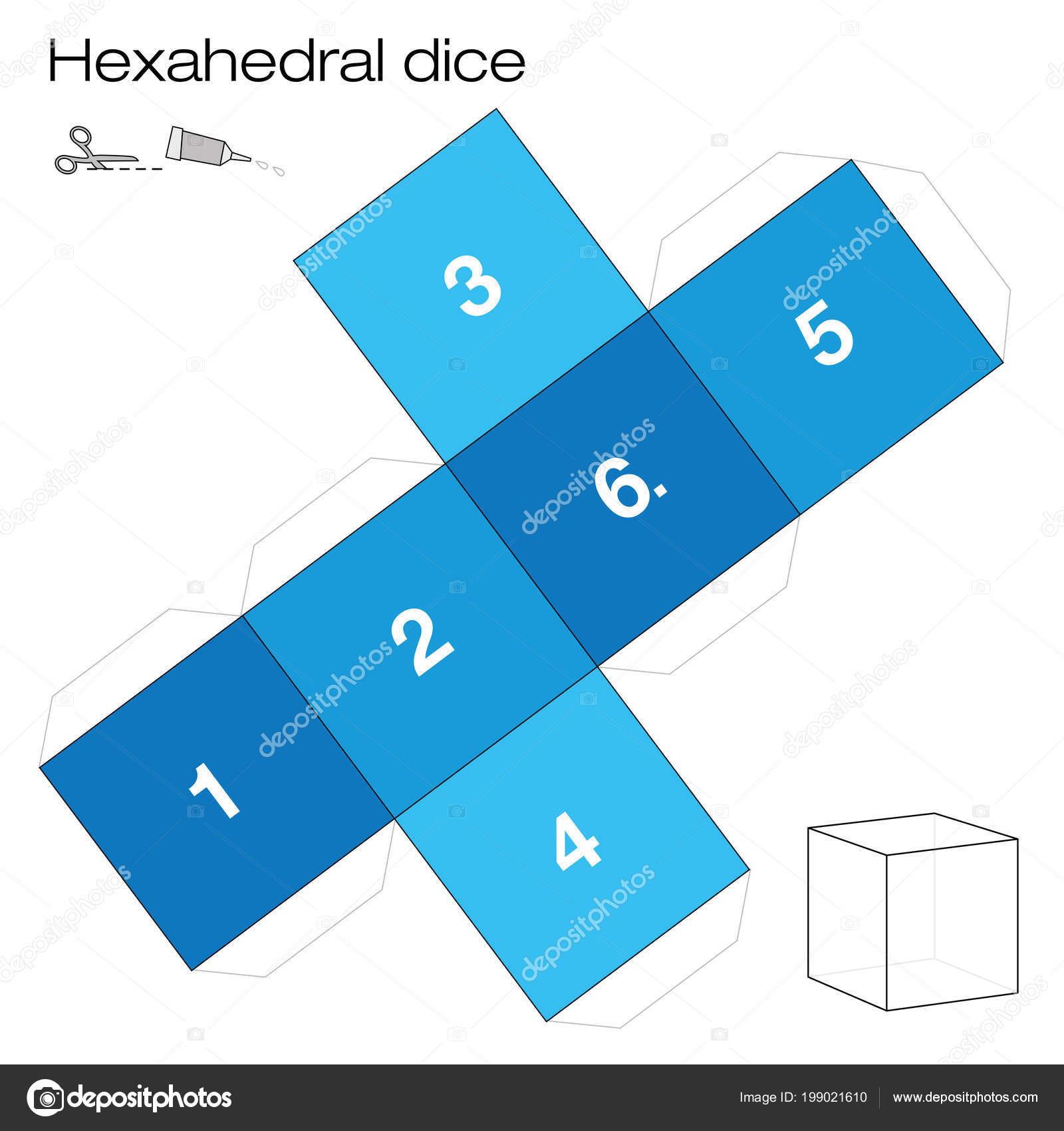 Plantilla Hexaedro Hexaedros Dados Uno Los Cinco Sólidos Platónicos ...