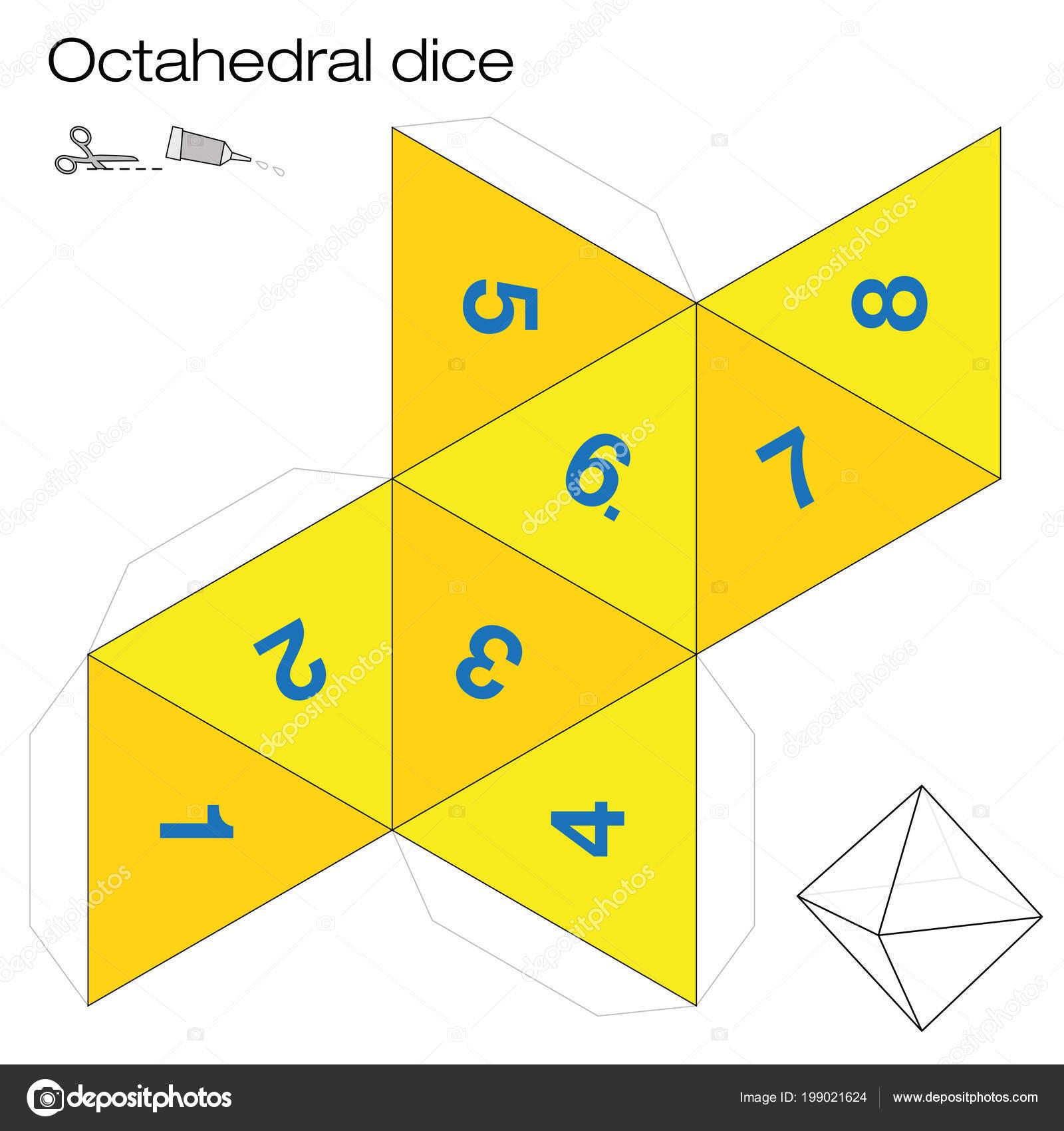 Plantilla Octaedro Dados Octaédricos Uno Los Cinco Sólidos ...