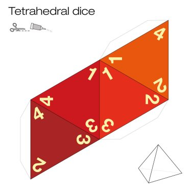 Tetrahedron template, four sided tetrahedral dice - one of the five platonic solids - make a 3d item with out of the net and play dice. Illustration on white background.