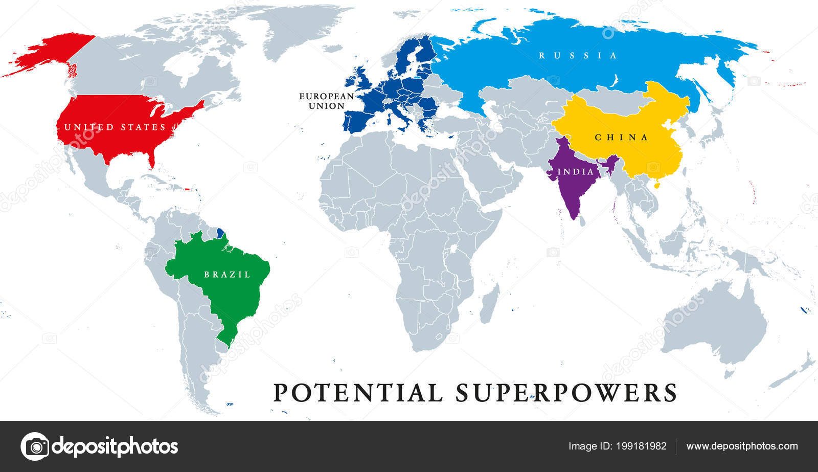 Current Potential Superpowers Political Map Current Superpower ...