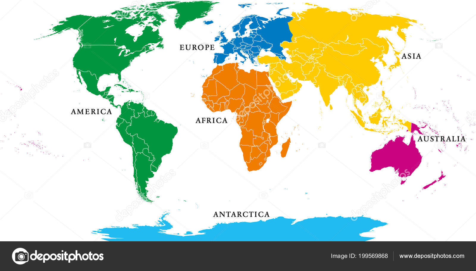 Six continents political world map borders africa america antarctica six continents political world map with borders africa america antarctica asia australia and europe robinson projection english labeling gumiabroncs Image collections