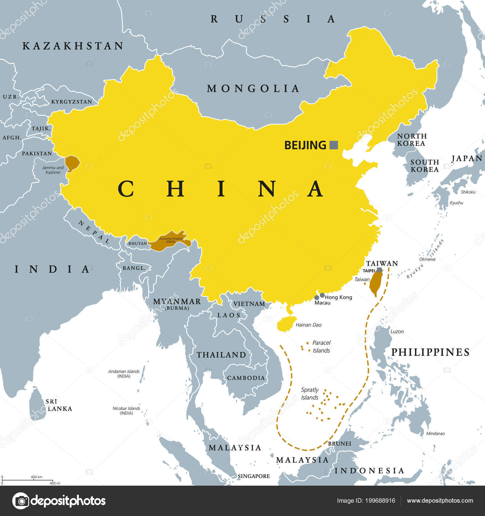 Peoples Republic China Prc Gray Political Map Area Controlled China