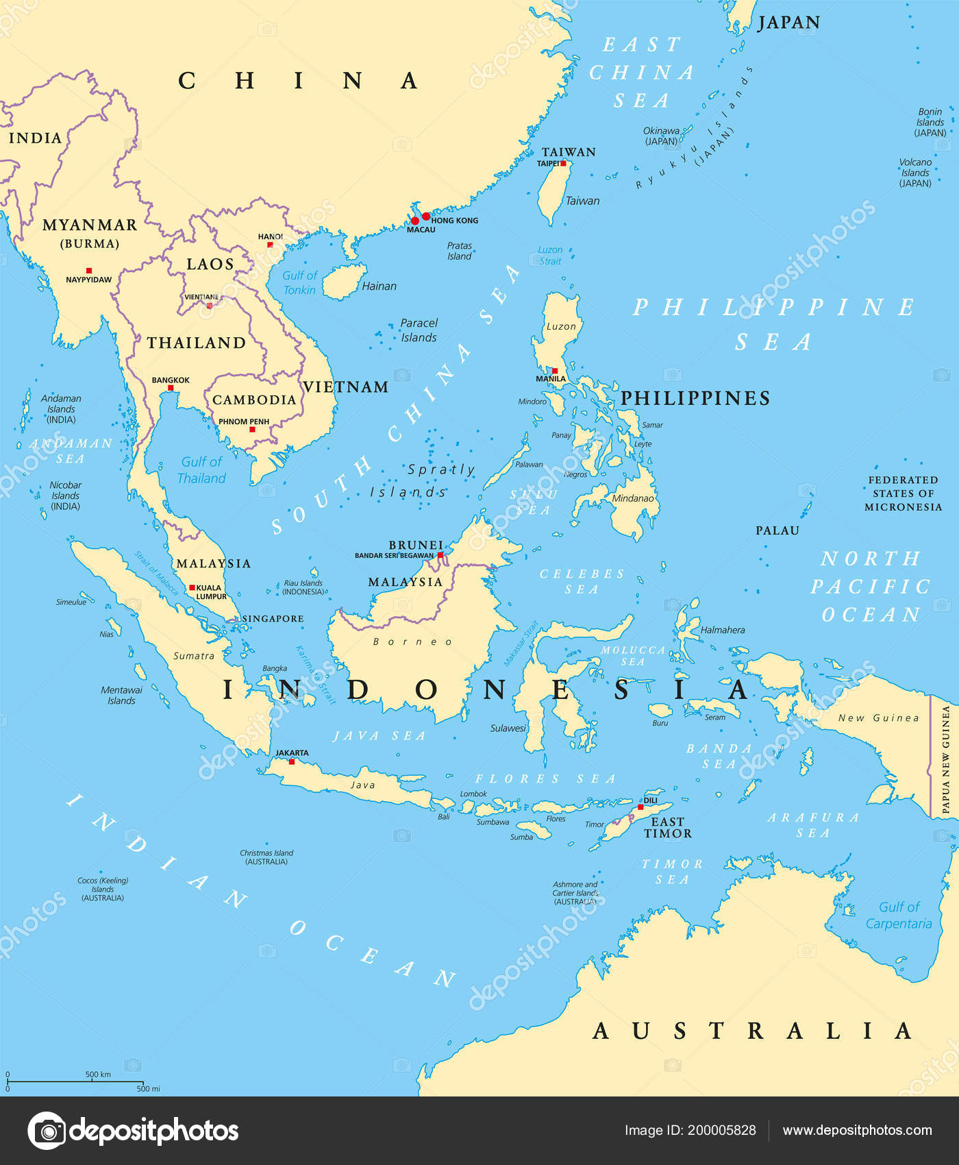 Southeast Asia Political Map Capitals Borders Subregion Asia ...