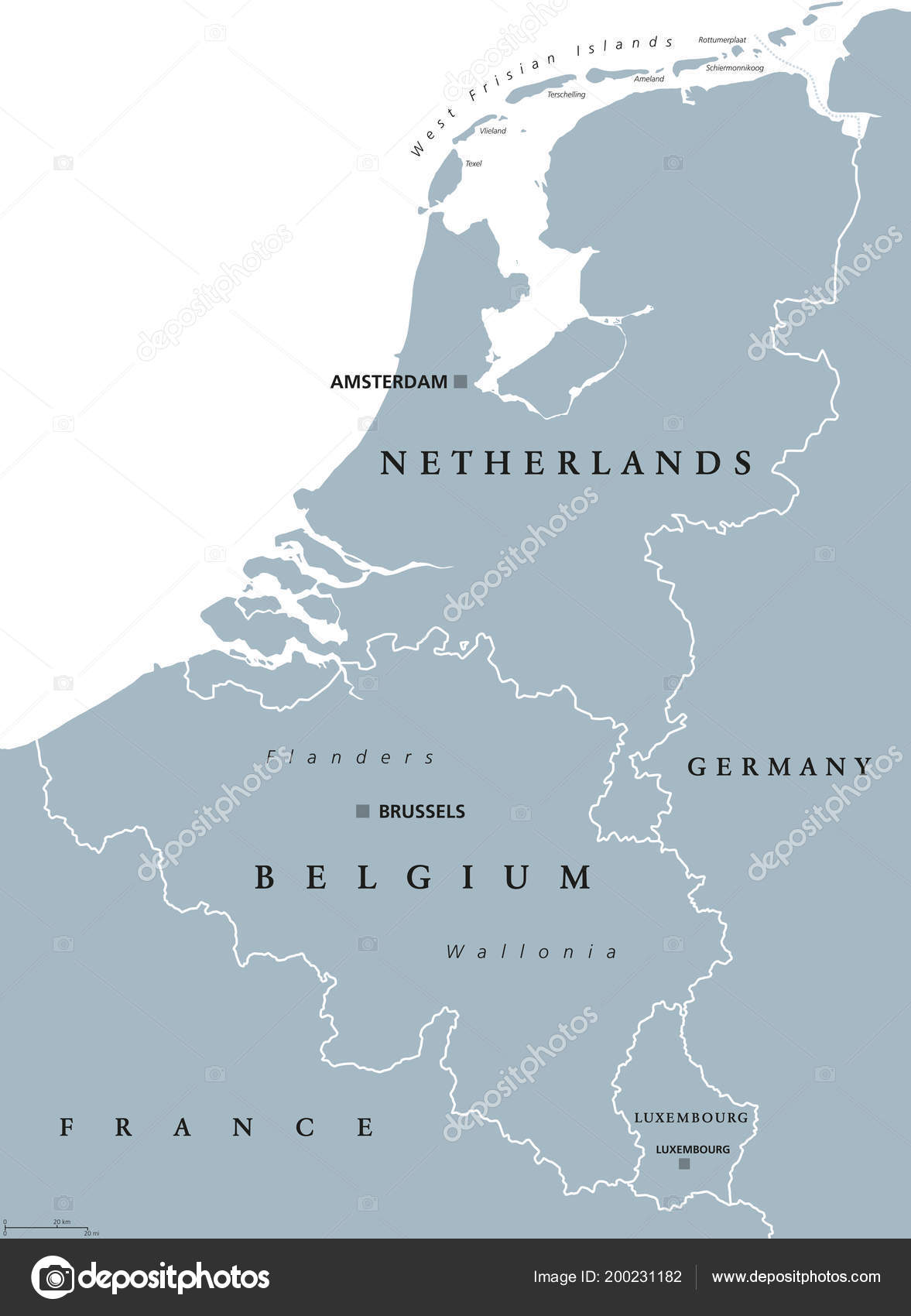 benelux countries gray colored political map belgium netherlands luxembourg benelux stock vector