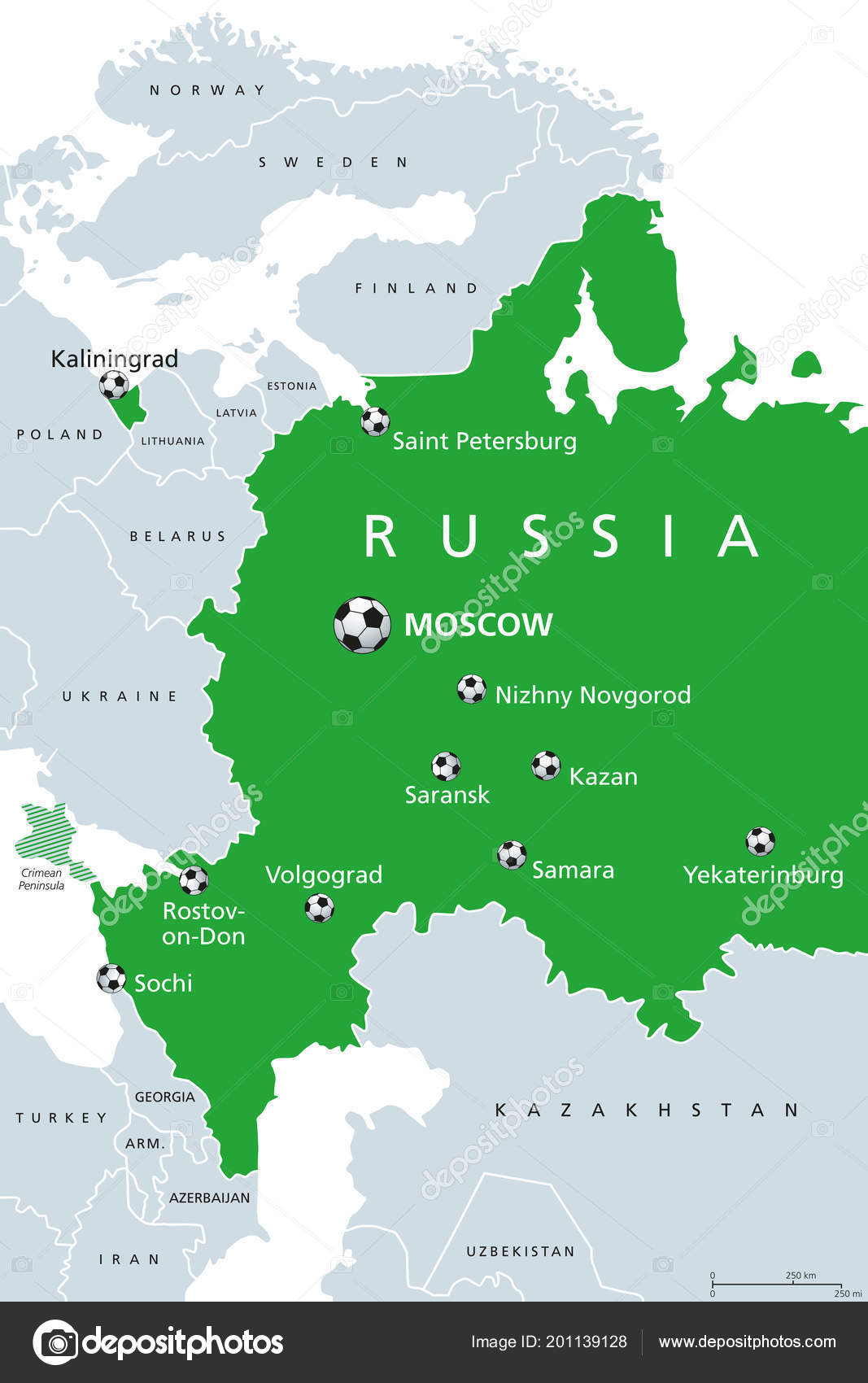 Russian Map Of Russia.Football Russia 2018 Map Venues Soccer European Western Part Russian
