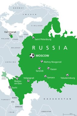 Football in Russia 2018, map of venues. Soccer. European and western part of Russian Federation with capital Moscow, borders and neighbor countries. English labeling. Illustration over white. Vector.