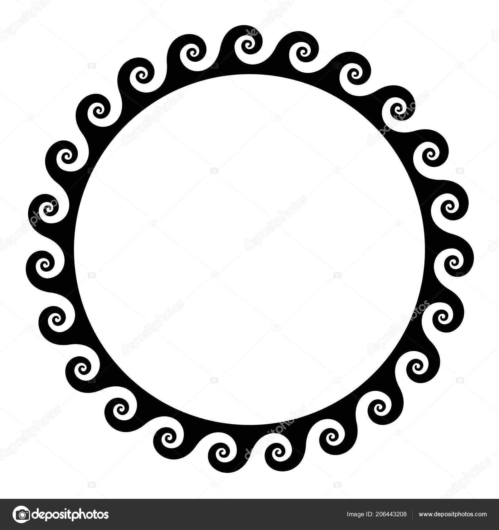 black seamless spirals frame made running dog pattern seamless