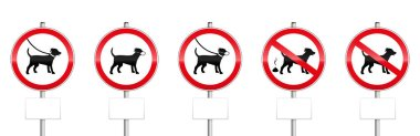 Dogs mandatory signs with blank panels - no dogs allowed, dogs on leash, wearing muzzles, dog dirt. Isolated on white background.