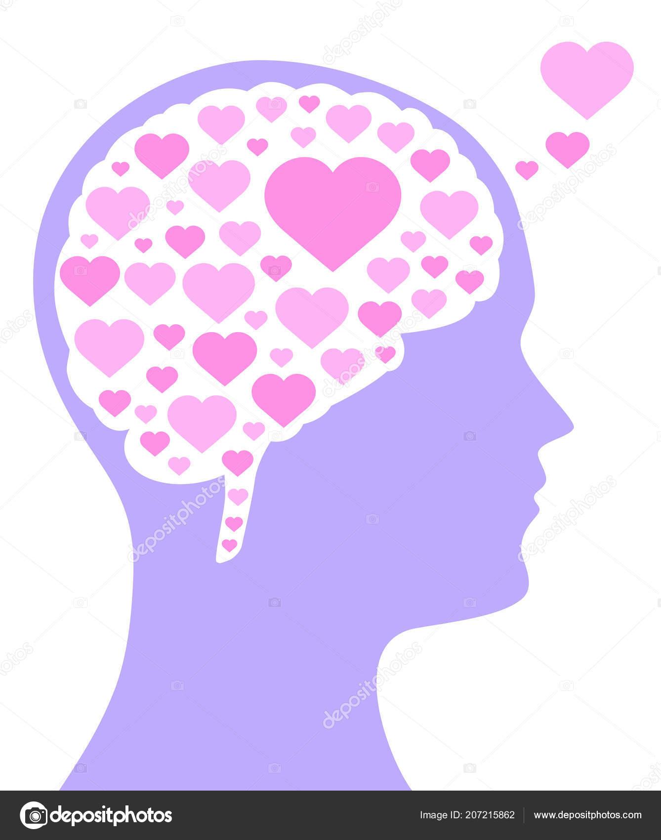 75d376cc819a Růžové Barevné Srdce Tvaru Mozku Fialové Silueta Hlavy Symbol Pro– stock  ilustrace