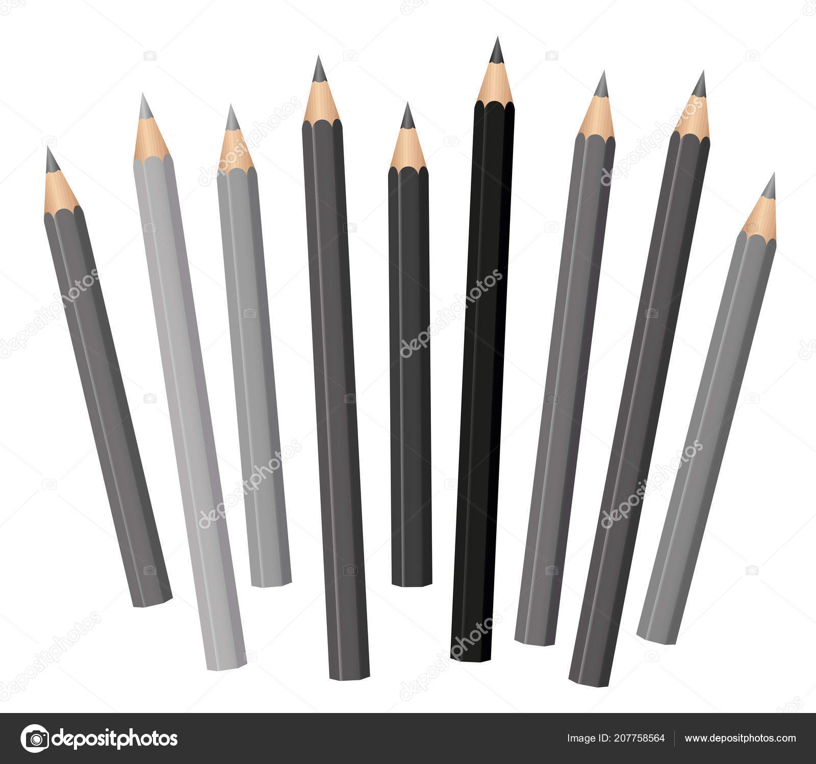 Gray pencils different shades lengths loosely arranged gray tones