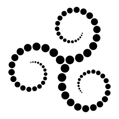 Celtic triskelion spiral made of black dots. Increasing points from the center of the spirals forming a triple spiral. Twisted and connected spirals. Isolated illustration on white background. Vector.