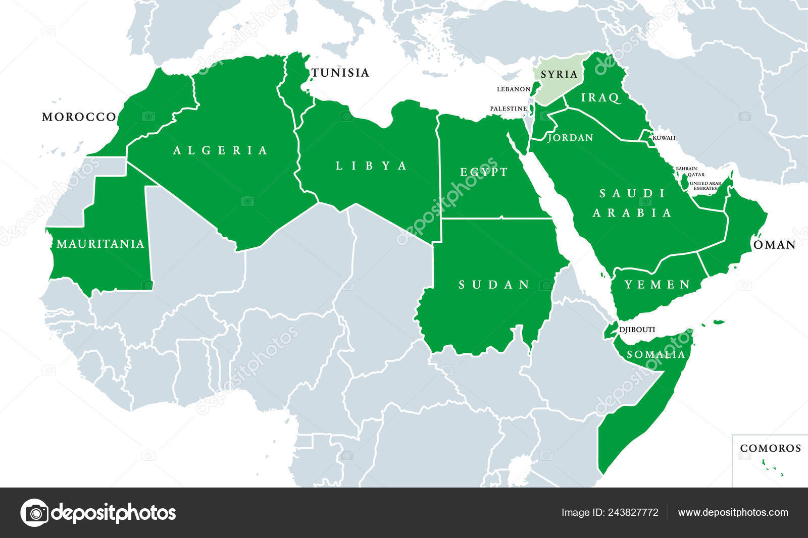 Arab League Political Map League Arab States Location North Africa ...
