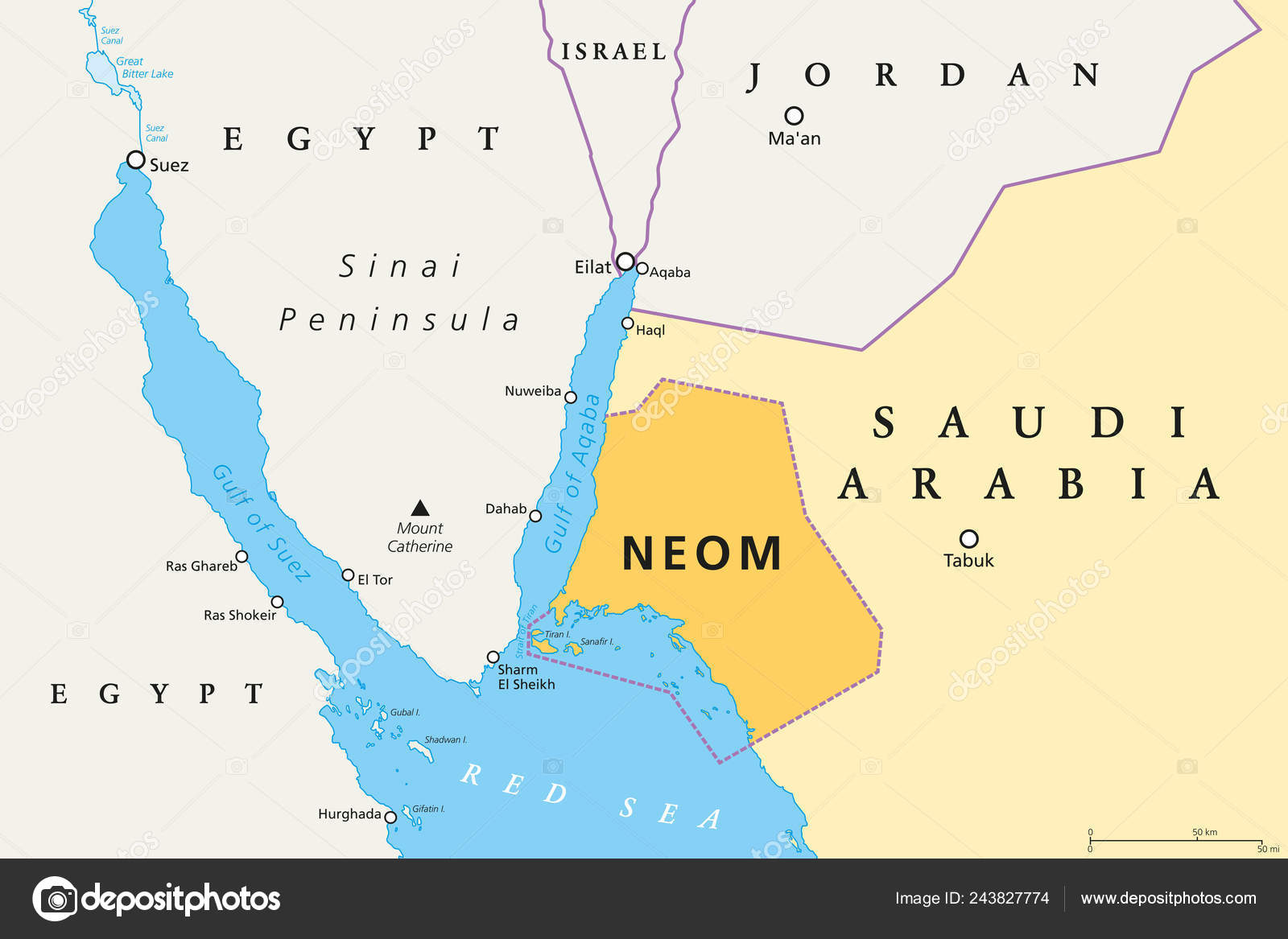 Neom Political Map 500 Billion Dollar Megacity Project Saudi Arabia