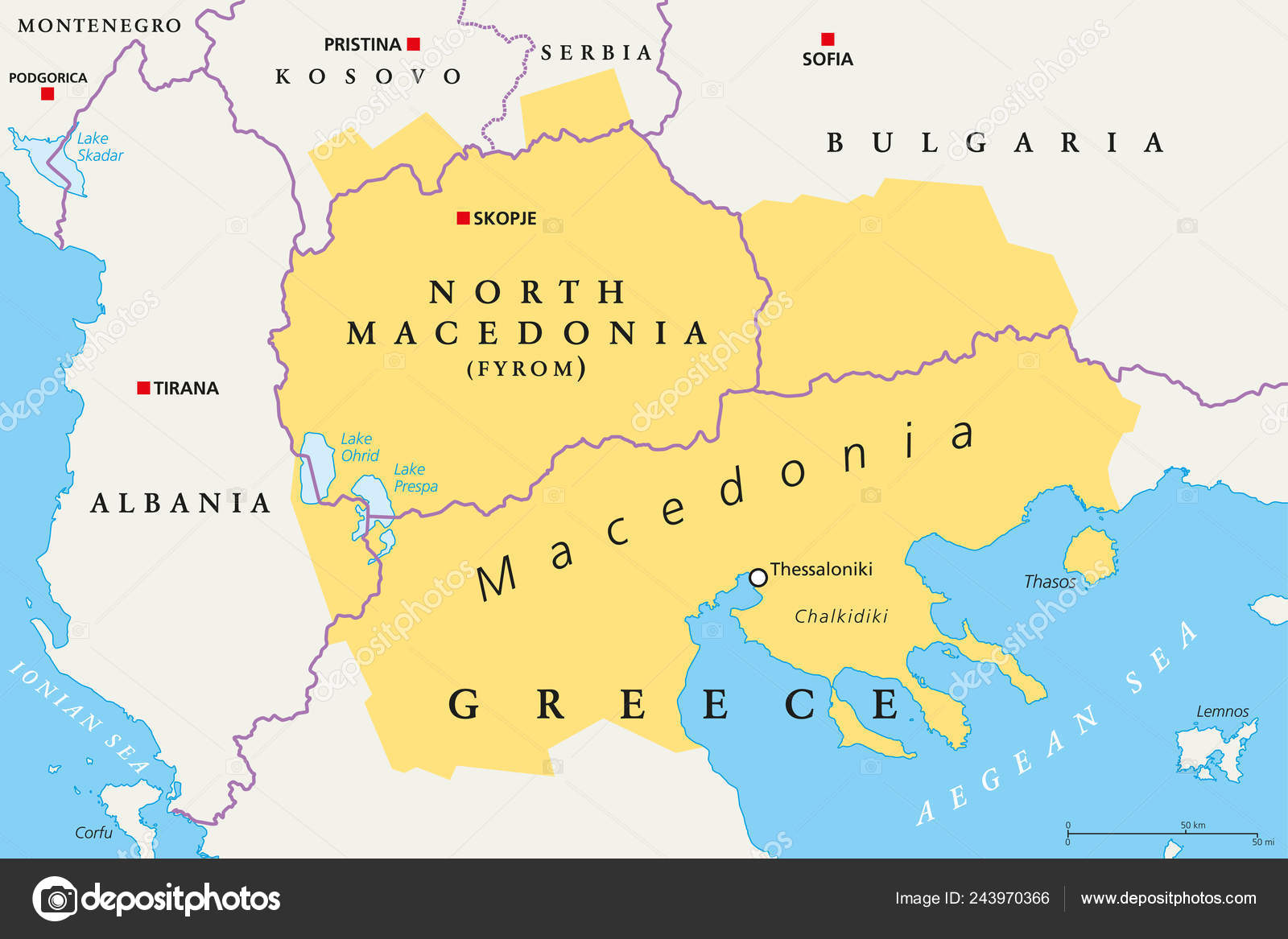 Macedonia Region Political Map Region Balkan Peninsula Southeast