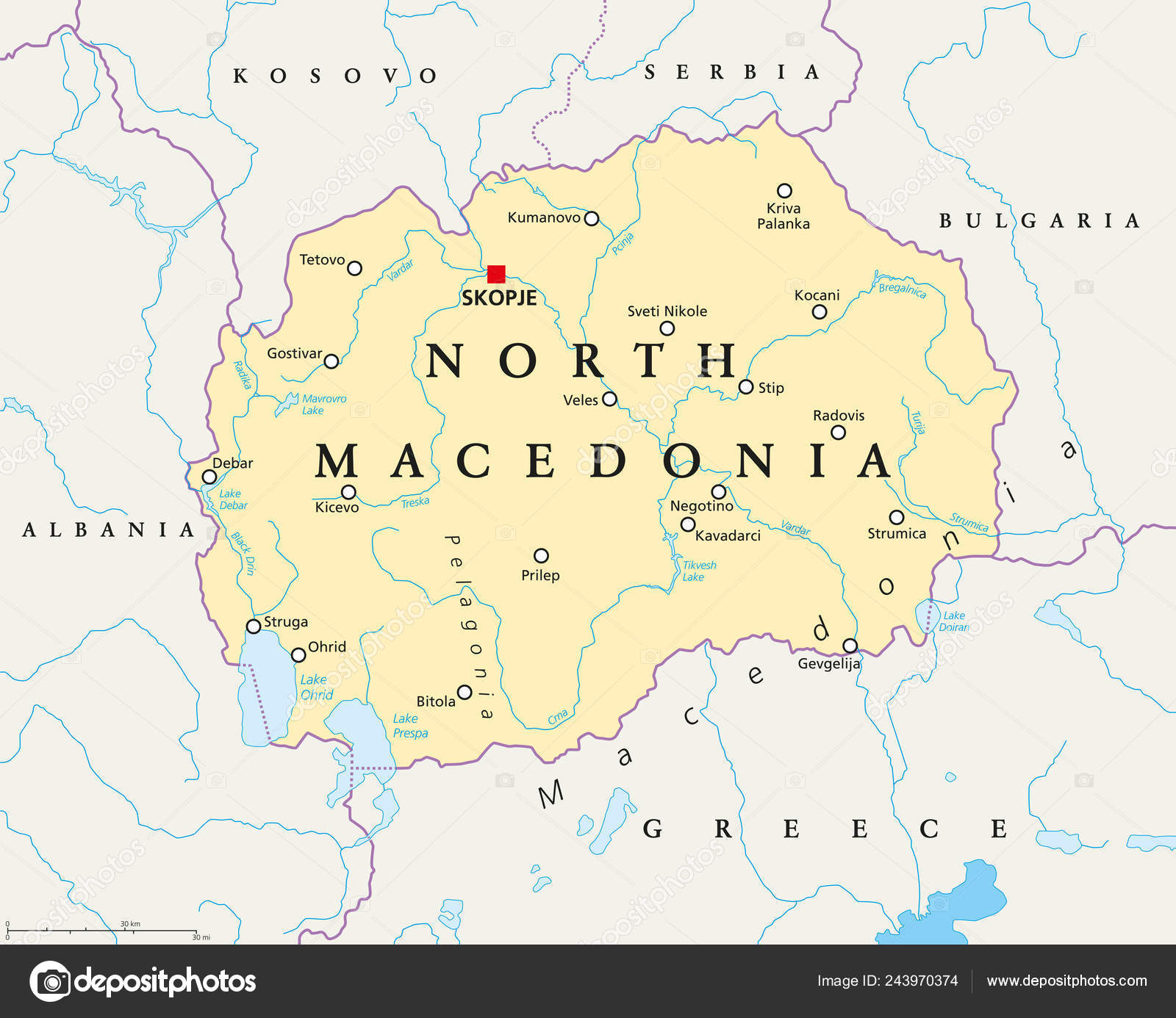 North Macedonia Political Map Capital Skopje Borders Important