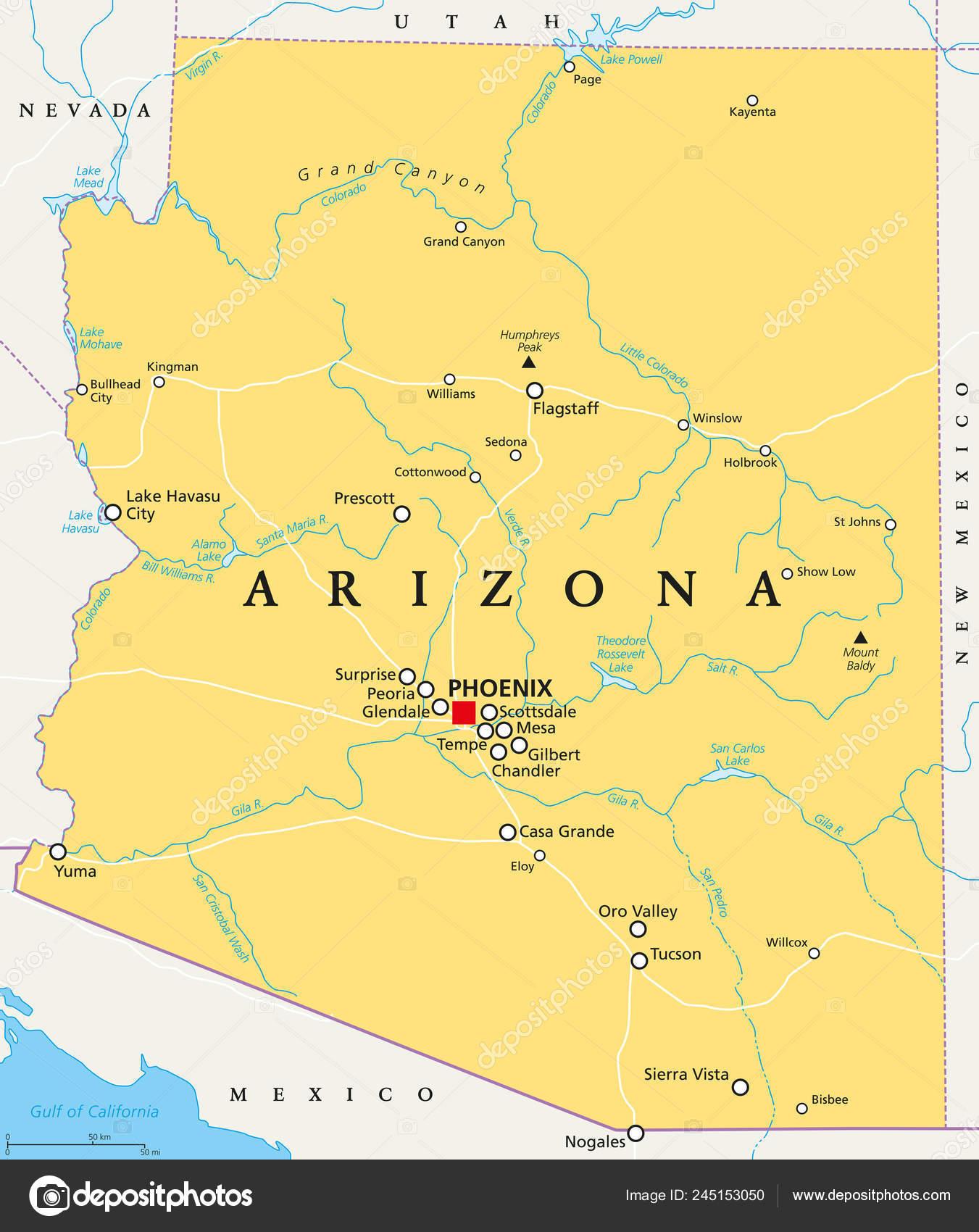 Map Of Arizona Rivers.Arizona Political Map Capital Phoenix Important Cities Rivers Lakes