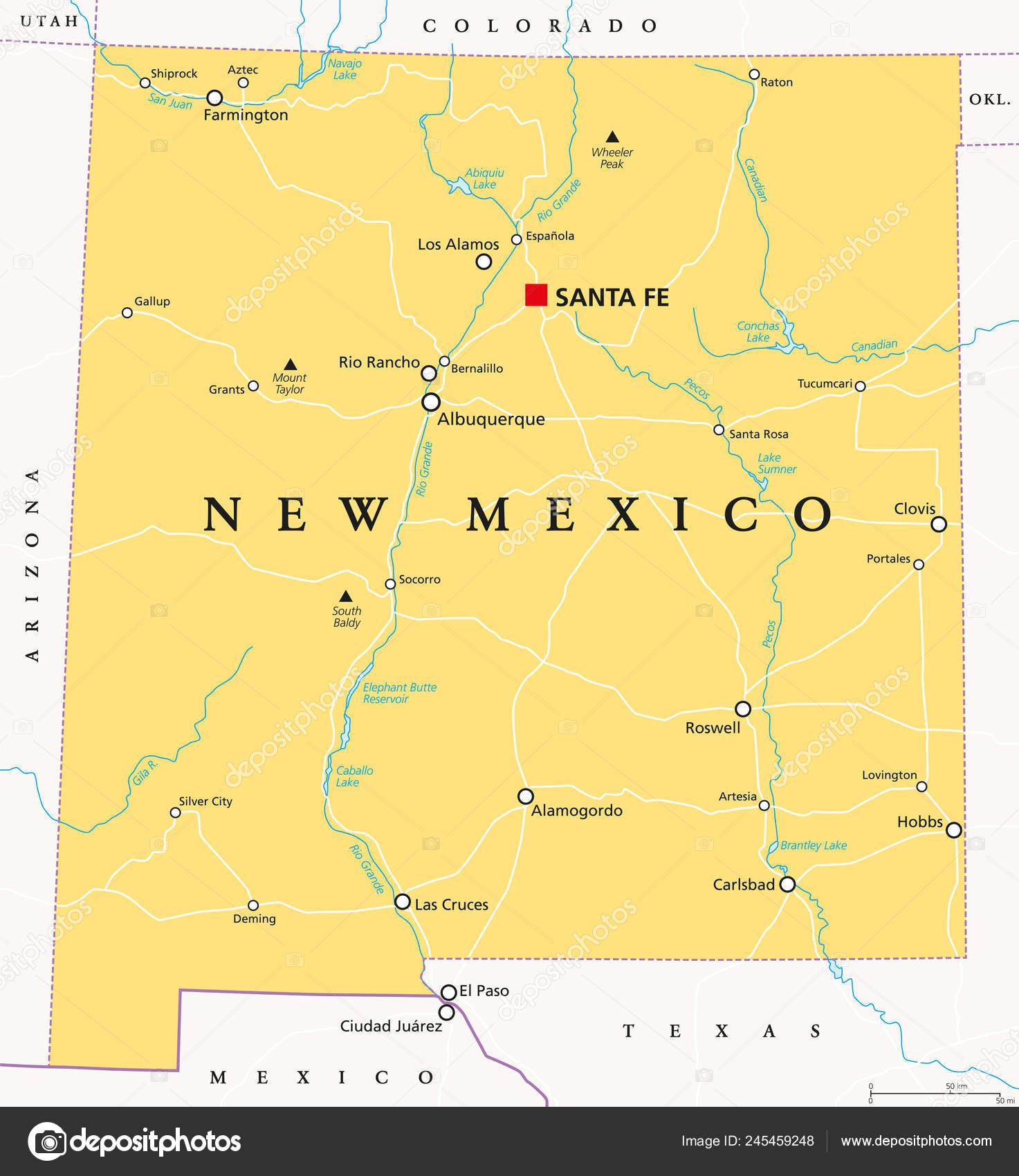 New Mexico Political Map Capital Santa Borders Important ...