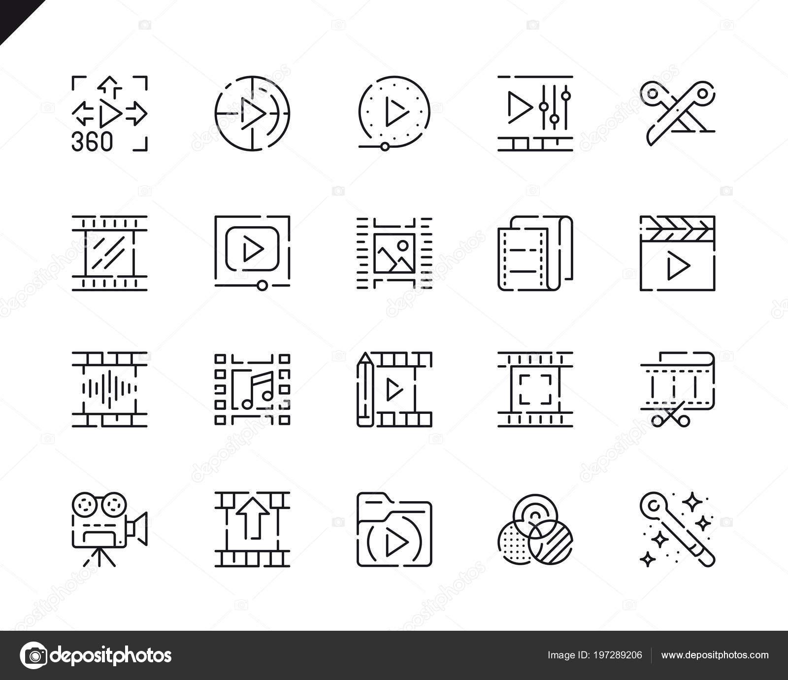 Simple Set Video Edición Línea Iconos Para Web Aplicaciones Móviles ...