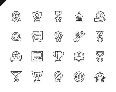 Simple Set Awards Line Icons for Website and Mobile Apps. Contains such Icons as Ribbon, Medal, Certificate, Star, Prize. 48x48 Pixel Perfect. Vector illustration.