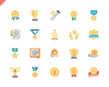 Simple Set Awards Flat Icons for Website and Mobile Apps. Contains such Icons as Ribbon, Medal, Certificate, Star, Prize. 48x48 Pixel Perfect. Vector illustration.